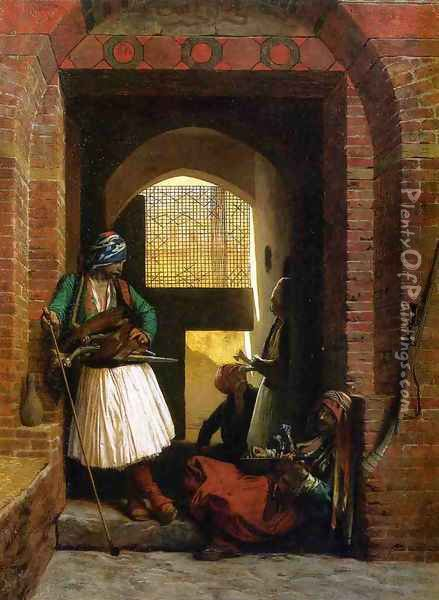 Arnauts Of Cairo At The Beb En Nasr Oil Painting - Jean-Leon Gerome