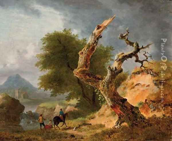 A mountainous landscape with figures by a stream near a dead tree Oil Painting - Jean Louis Demarne, Called Demarnette