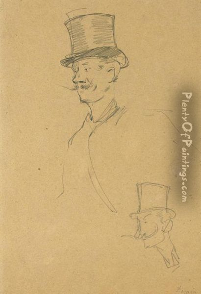 A Mustachioed Gentleman,  Half-length, Wearing A Top Hat, And A Subsidiary Study Of The Same  Figure Oil Painting - Jean-Louis Forain