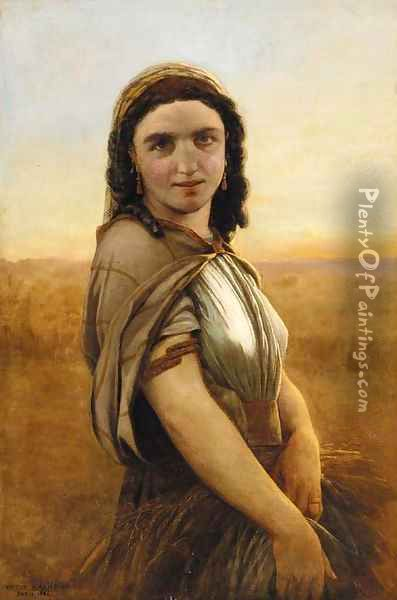 Harvest maiden Oil Painting - Jean-Pierre-Victor Mazies