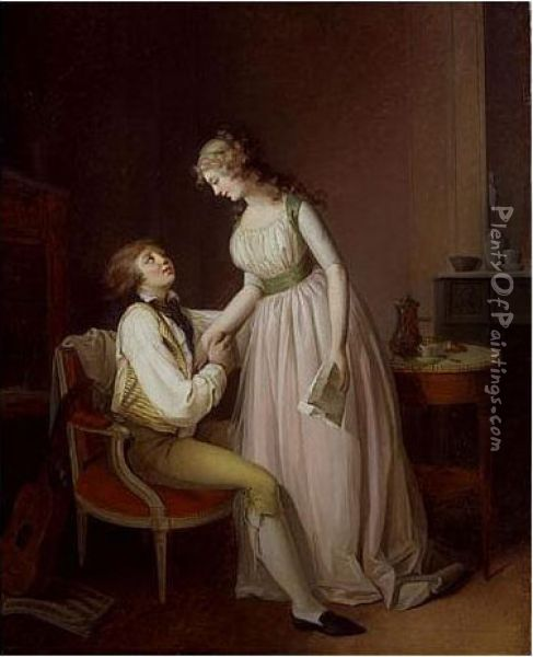 Interior Scene With A Young Couple Oil Painting - Jean-Simon Fournier
