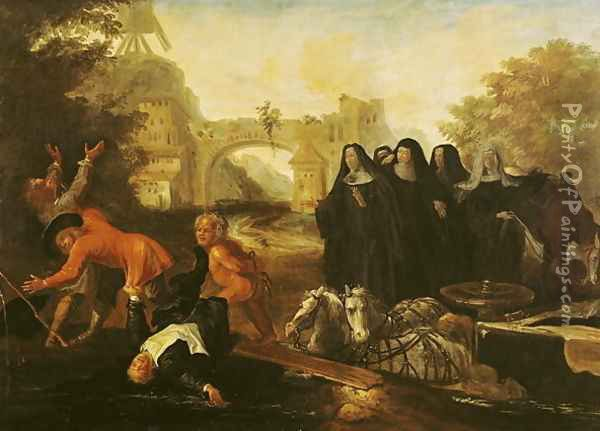 The Abbess of Etival Returning to Le Mans with Four Nuns, from Roman Comique' Oil Painting - Jean de Coulom
