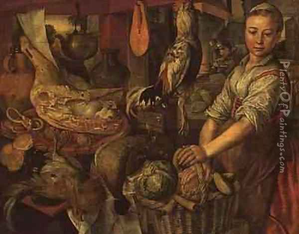 Interior of a kitchen Oil Painting - Joachim Bueckelaer