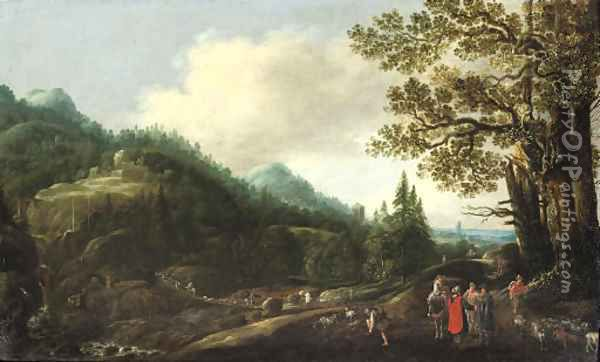 An extensive wooded landscape with the Reconcilliation of Jacob and Laban Oil Painting - Joachim Govertsz. Camphuysen