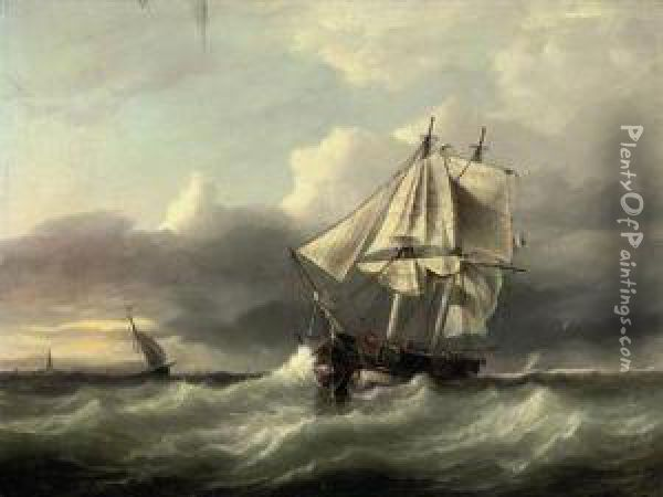 A French Coastal Trader Anchored In A Heavy Swell Off The Lowcountries Oil Painting - Joannes Frederick Schutz