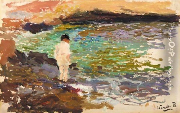 Nino En Las Rocas (Boy On The Rocks) Oil Painting - Joaquin Sorolla Y Bastida