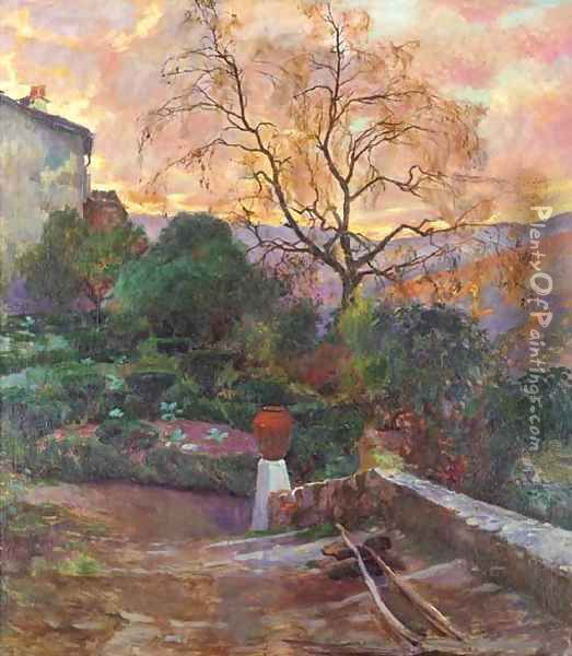 The gardens of a Spanish farmhouse Oil Painting - Joaquin Sorolla Y Bastida