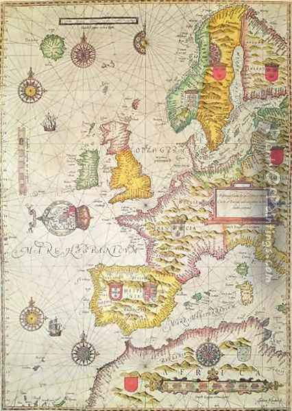 A Generall carde and description of the sea coastes of Europe and navigation in this book conteyned Oil Painting - Jodocus Hondius