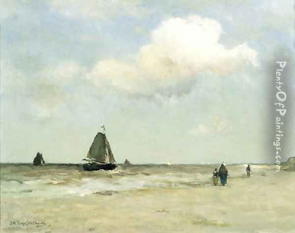 Bomschuiten at sea on a cloudy day Oil Painting - Johan Hendrik Weissenbruch
