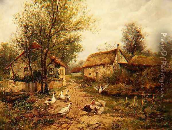 Poultry by a Pond in a Farmyard Oil Painting - Johan Hendrik Weissenbruch