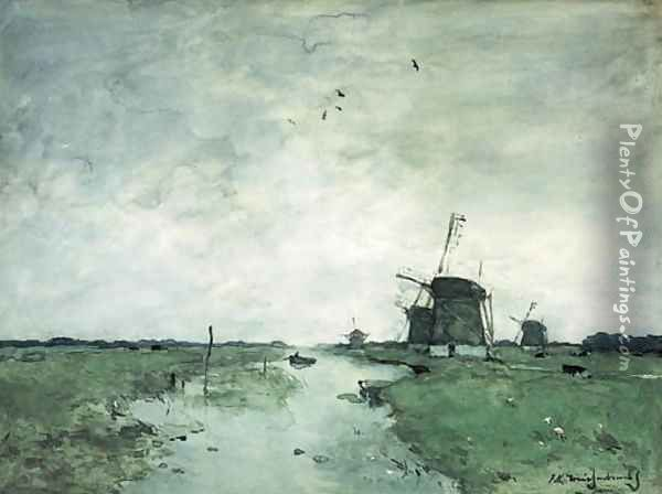 Windmills in the polder Oil Painting - Johan Hendrik Weissenbruch