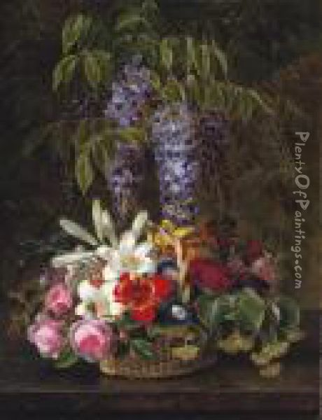 Wisteria With Roses, Lilies, And Summer Flowers In A Basket Oil Painting - Johan Laurentz Jensen