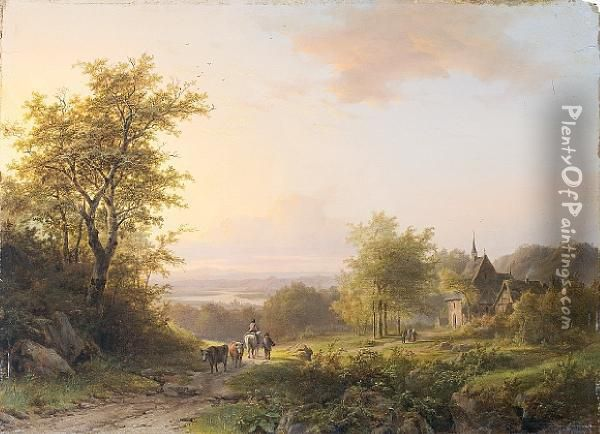 Landscape With Figures On A Country Path, Achurch Beyond Oil Painting - Johann Bernard Klombeck