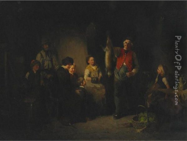 Home From The Hunt Oil Painting - Johann Ferdinand J. Hintze
