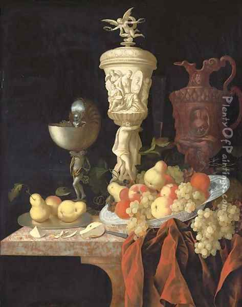 A nautilus cup, a sculpted marble urn, a sculpted porphyry jug and other vessels with oranges, apples, pears and grapes in a blue and white porcelain Oil Painting - Johann Georg (also Hintz, Hainz, Heintz) Hinz