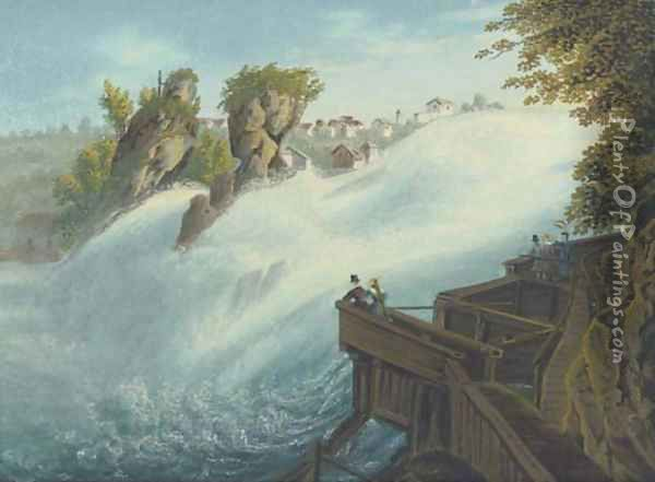 Figures observing a waterfall, thought to be at Schaffhausen on the Rhine Oil Painting - Johann Heinrich (II) Bleuler:
