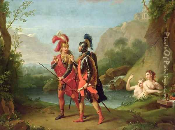 Carlo and Ubaldo by the Water Nymphs, 1782 Oil Painting - Johann Heinrich The Elder Tischbein