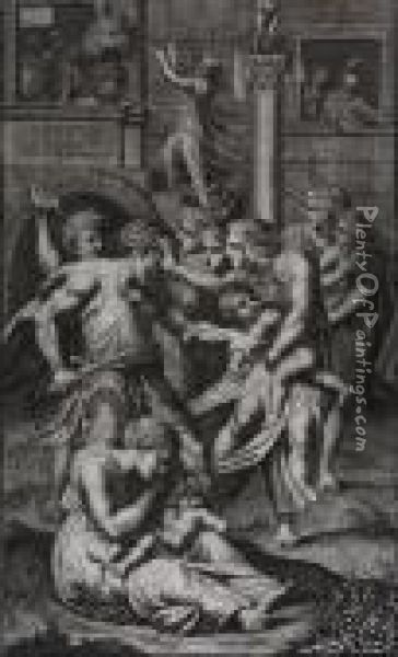 Menlaus And Paris, Together With  Ten Figural Scenes By Ch. Demechel, Jeremias Wolff, Stoelzel, Natalis,  And Others Oil Painting - Johann Heinrich The Elder Tischbein
