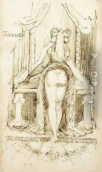 Callipyga Mrs Fuseli with her skirts lifted to her waist standing before a dressing table with phallic supports Oil Painting - Johann Henry Fuseli