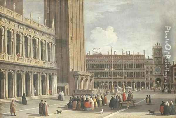 Venice the Piazza San Marco looking north from the Piazzetta towards the Torre del'Orologio Oil Painting - Johann Richter