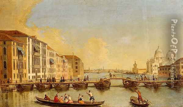 View Of The Grand Canal And Santa Maria Della Salute, Venice Oil Painting - Johann Richter