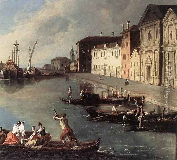 View of the Giudecca Canal (detail) 1730s Oil Painting - Johann Richter