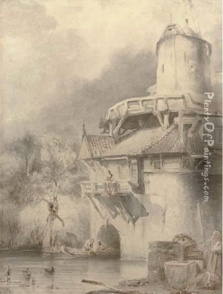 A Watermill In Leuven Oil Painting - Johannes Bosboom