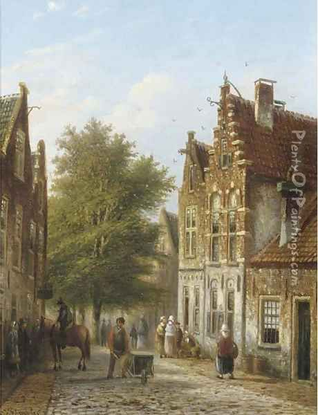 A sunny street in a Dutch town Oil Painting - Johannes Franciscus Spohler