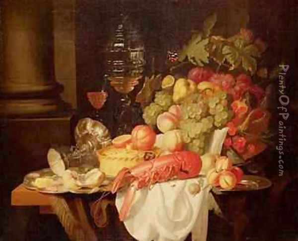 Still Life with Lobster Oil Painting - Johannes Hannot