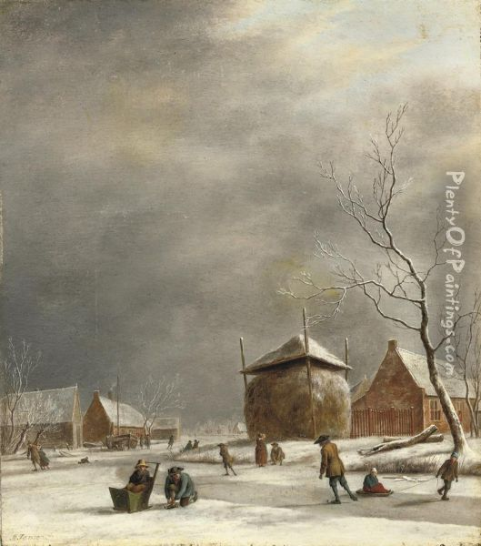 A Winter Landscape With Skaters On A Frozen River Near A Haystack Oil Painting - Johannes Janson