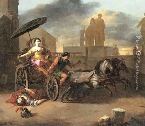 The Death of Servius Tullius with Tullia in her Chariot Oil Painting - Johannes Lingelbach