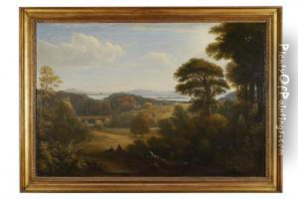 Distant View Of Edinburgh From Donibristle Oil Painting - John, Rev. Thomson Of Duddingston