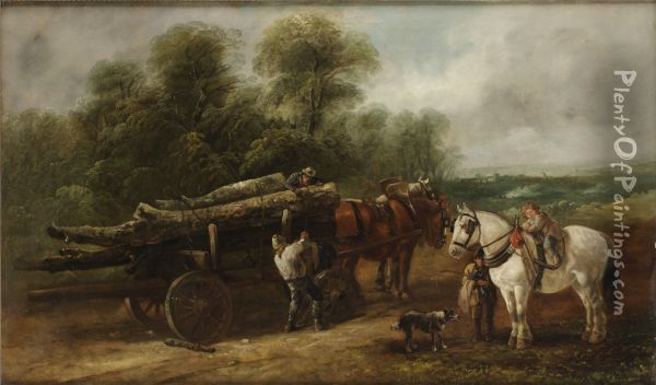 The Lumber Wagon Oil Painting - John Barker