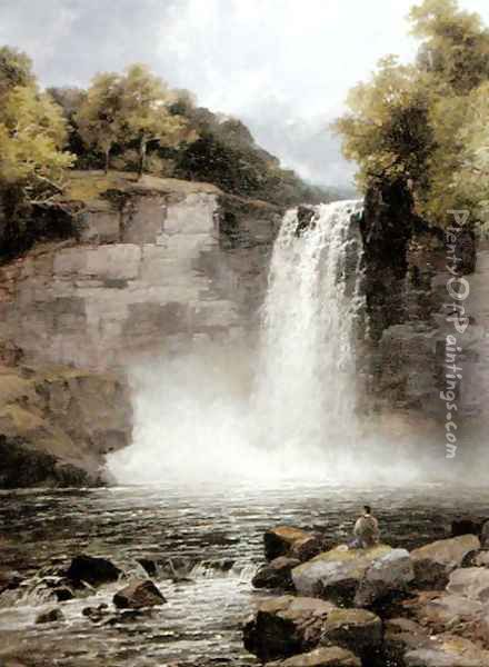 Ruthven Falls, North Wales Oil Painting - John Brandon Smith