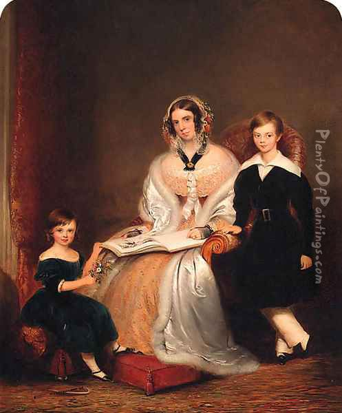 Group Portrait of a Lady with her two Children, small full-length, the former in a yellow lace dress, resting a book on her lap Oil Painting - John Bridges