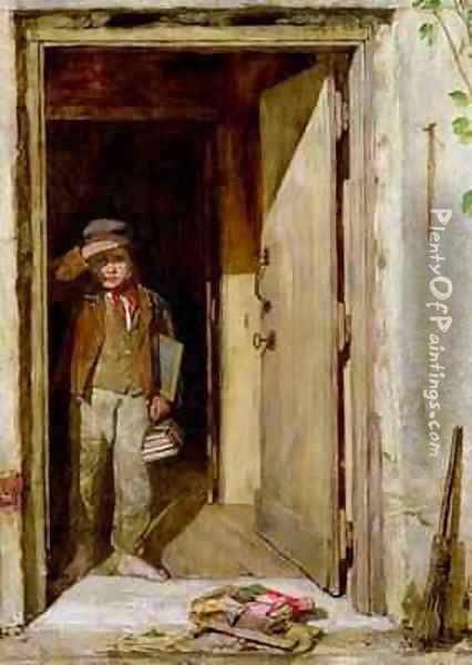The Reluctant Schoolboy Oil Painting - John Burn