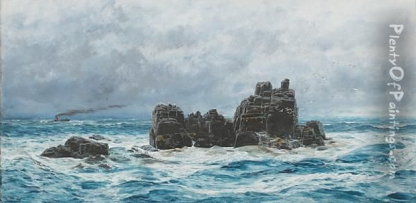 A Rocky Coastal Outcrop, With Distantsteamer Oil Painting - John Butts