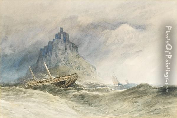 Ships On A Stormy Sea Oil Painting - John Callow