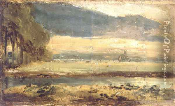 Dedham Church seen from across the River Stour with overhanging cloud, c.1810 Oil Painting - John Constable