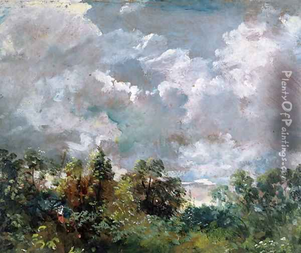 Study of Sky and Trees Oil Painting - John Constable