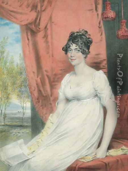 Portrait of (the younger) Miss Stuart of Albemarle Street, seated three-quarter-length, in a white dress with yellow gloves, holding a letter Oil Painting - John Downman