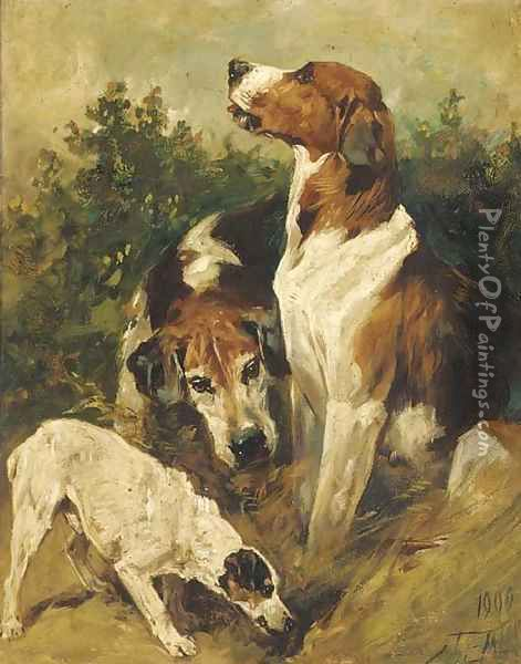 Hounds and a terrier Oil Painting - John Emms