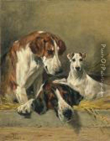 Two Foxhounds And A Terrier In A Straw Bed Oil Painting - John Emms