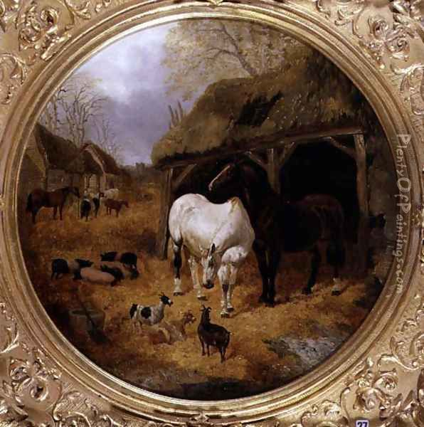 Farmstead, 1851 Oil Painting - John Frederick Herring Snr