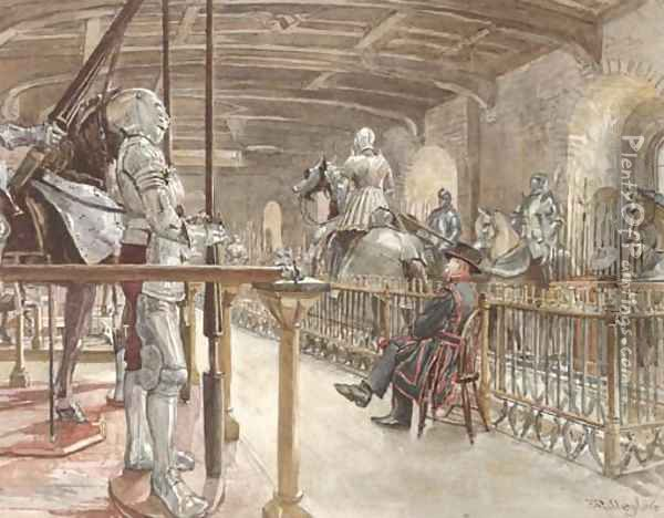 In the chamber of the White Tower, Tower of London Oil Painting - John Fulleylove