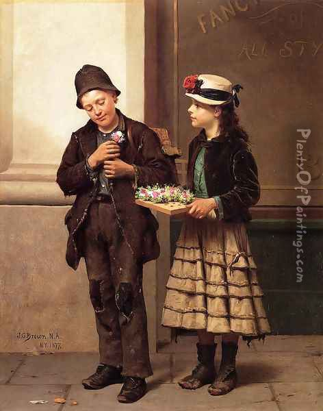 The Flower Girl Oil Painting - John George Brown