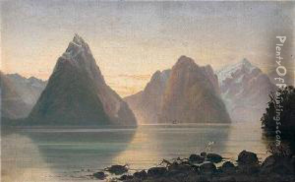 Mitre Peak And The Waters Of Milford Sound Oil Painting - John Gibb