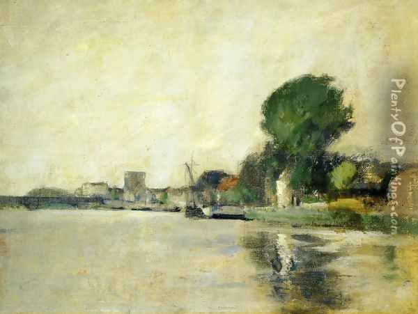 View Along A River Oil Painting - John Henry Twachtman