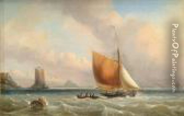 Vessels Off Thecoast Oil Painting - John James Wilson