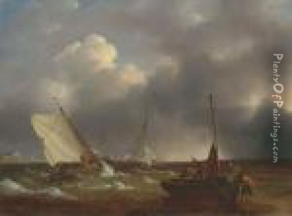 Fishing Boats Coming Ashore In The Channel Oil Painting - John Jock Wilson